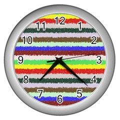 Horizontal Vivid Colors Curly Stripes   2 Wall Clock (silver) by BestCustomGiftsForYou