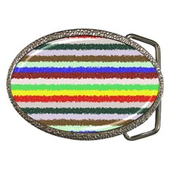 Horizontal Vivid Colors Curly Stripes   2 Belt Buckle (oval) by BestCustomGiftsForYou