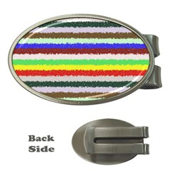 Horizontal Vivid Colors Curly Stripes   2 Money Clip (oval) by BestCustomGiftsForYou