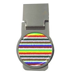 Horizontal Vivid Colors Curly Stripes   2 Money Clip (round) by BestCustomGiftsForYou