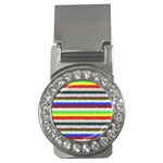 Horizontal Vivid Colors Curly Stripes - 2 Money Clip (CZ) Front