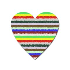 Horizontal Vivid Colors Curly Stripes   2 Magnet (heart)