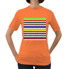 Horizontal Vivid Colors Curly Stripes   2 Women s T Shirt (colored) by BestCustomGiftsForYou