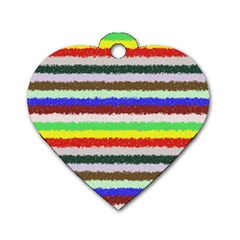 Horizontal Vivid Colors Curly Stripes   2 Dog Tag Heart (two Sided)
