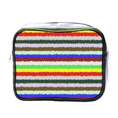 Horizontal Vivid Colors Curly Stripes   2 Mini Travel Toiletry Bag (one Side) by BestCustomGiftsForYou