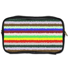 Horizontal Vivid Colors Curly Stripes   2 Travel Toiletry Bag (two Sides)