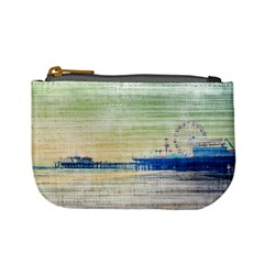 Santa Monica Pier Green Grey Canvas Coin Change Purse by stineshop