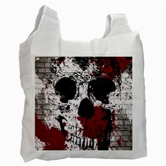 Skull Grunge Graffiti  White Reusable Bag (one Side) by OCDesignss