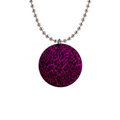 Pink Cheetah  Button Necklace