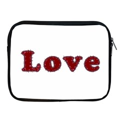 Love Typography Text Word Apple Ipad Zippered Sleeve by dflcprints