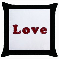 Love Typography Text Word Black Throw Pillow Case by dflcprints
