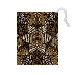 Golden Animal Print Pattern  Drawstring Pouch (large)