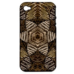 Golden Animal Print  Apple Iphone 4/4s Hardshell Case (pc+silicone) by OCDesignss