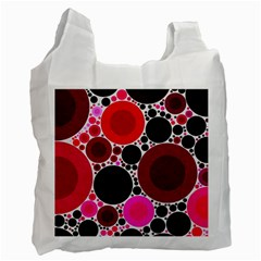 Retro Polka Dot  White Reusable Bag (one Side) by OCDesignss