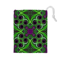 Purple Meets Green Drawstring Pouch (large) by OCDesignss