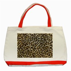 Chocolate Leopard  Classic Tote Bag (red) by OCDesignss