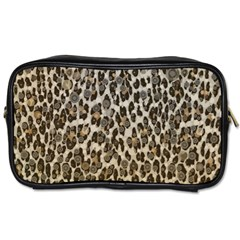 Chocolate Leopard  Travel Toiletry Bag (one Side) by OCDesignss