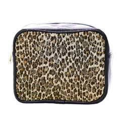 Chocolate Leopard  Mini Travel Toiletry Bag (one Side) by OCDesignss