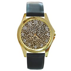 Chocolate Leopard  Round Leather Watch (gold Rim)  by OCDesignss