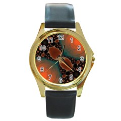 Elegant Delight Round Leather Watch (gold Rim)  by OCDesignss
