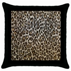 Chocolate Leopard  Black Throw Pillow Case by OCDesignss