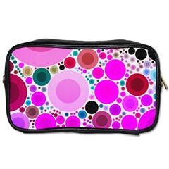 Bubble Gum Polkadot  Travel Toiletry Bag (two Sides) by OCDesignss