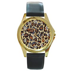 Cheetah Abstract Round Leather Watch (gold Rim)  by OCDesignss
