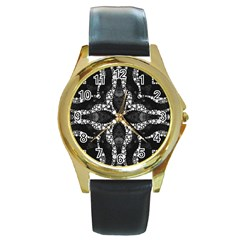 Black Onyx  Round Leather Watch (gold Rim)  by OCDesignss