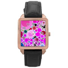 Bubble Gum Polkadot  Rose Gold Leather Watch  by OCDesignss