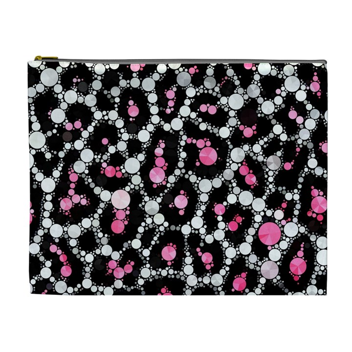 Pink Cheetah Bling Cosmetic Bag (XL)
