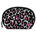 Pink Cheetah Bling Accessory Pouch (Large) Front