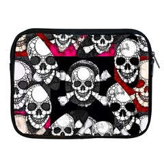 Pink Skull Bling Apple Ipad Zippered Sleeve by OCDesignss