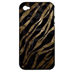 Gold Zebra  Apple Iphone 4/4s Hardshell Case (pc+silicone) by OCDesignss