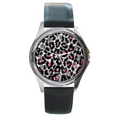 Pink Cheetah Bling Round Leather Watch (silver Rim) by OCDesignss