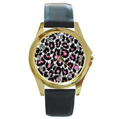Pink Cheetah Bling Round Leather Watch (gold Rim)  by OCDesignss