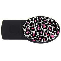Pink Cheetah Bling 2gb Usb Flash Drive (oval) by OCDesignss