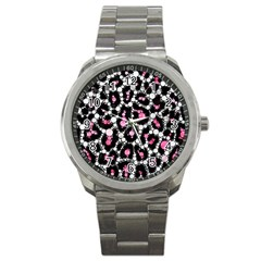 Pink Cheetah Bling Sport Metal Watch by OCDesignss