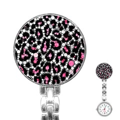 Pink Cheetah Bling Stainless Steel Nurses Watch by OCDesignss