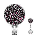Pink Cheetah Bling Stainless Steel Nurses Watch Front