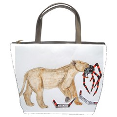 Giant Spider Fights Lion  Bucket Handbag by creationtruth