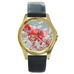 Flowers In The Sky Round Leather Watch (gold Rim)  by dflcprints