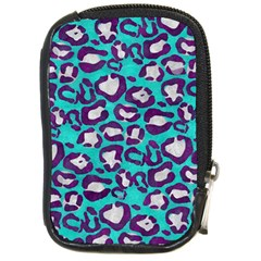 Turquoise Cheetah Compact Camera Leather Case