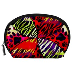 Crazy Animal Print Lady  Accessory Pouch (large) by OCDesignss