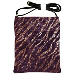Lavender Gold Zebra  Shoulder Sling Bag by OCDesignss