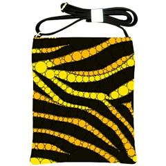 Yellow Bling Zebra  Shoulder Sling Bag by OCDesignss