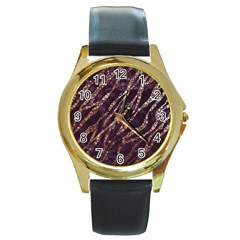Lavender Gold Zebra  Round Leather Watch (gold Rim)  by OCDesignss