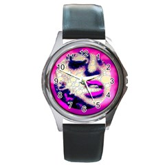Lady With A Attitude  Round Leather Watch (silver Rim) by OCDesignss