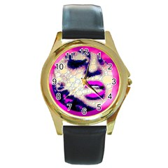 Lady With A Attitude  Round Leather Watch (gold Rim)  by OCDesignss