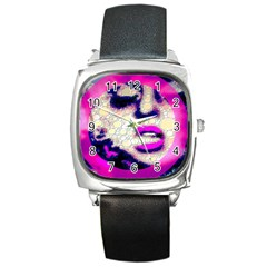 Lady With A Attitude  Square Leather Watch by OCDesignss