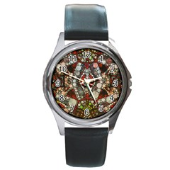 Crazy Abstract  Round Leather Watch (silver Rim) by OCDesignss